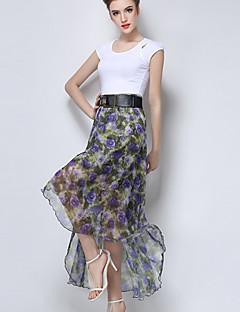 Vardag Asymmetrisk Kjolar Kvinnors Oelastisk Polyester / Övrigt