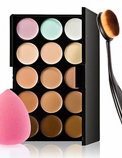 15 צבעים קונטור קרם פנים מברשת אבקת איפור קונסילר לוח + ספוג נשיפה עבור סומק הבסיס קונסילר