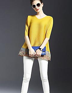 Vrouwen Street chic Lente Blouse,Casual/Dagelijks Patchwork Ronde hals Halflange mouw Blauw / Roze / Geel Polyester Dun