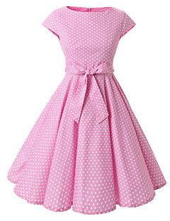 Women's Cap Sleeves Red Black Pink Mini Polka Dot Dress , Vintage Halter 50s Rockabilly Swing Dress