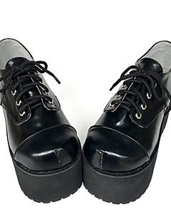 Punk Lolita Leather 8 Wedge Black Lolita Shoes