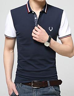 Men's Short Sleeve ,Cotton / Modal Casual / Work / Formal / Sport Pure / Color Block