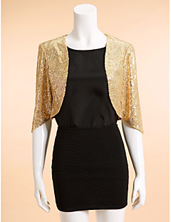 Wedding  Wraps Coats/Jackets 3/4-Length Sleeve Sequined Gold Wedding / Party/Evening Scoop Sequin Open Front