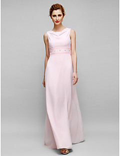 Lanting Sheath/Column Mother of the Bride Dress - Blushing Pink Floor-length Sleeveless Chiffon