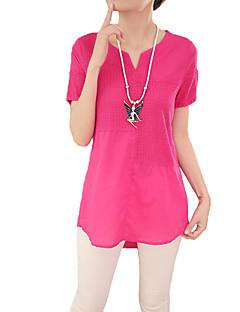 Damen Solide Bluse - Baumwolle Kurzarm V-Ausschnitt