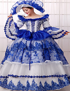 One-Piece/Dress Classic/Traditional Lolita Steampunk® Victorian Cosplay Lolita Dress Blue Solid Long Sleeves Long Length Dress Hat For