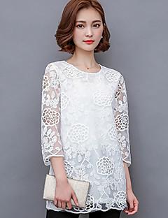 Γυναικεία Μπλούζα Εξόδου Μεγάλα Μεγέθη / Χαριτωμένο Μονόχρωμο,½ Μανίκι Στρογγυλή Λαιμόκοψη Άνοιξη Αραχνοΰφαντο Πολυεστέρας Άσπρο / Μαύρο