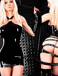 Women's Back Open Bondage Halter PVC Leather Clubwear Dress