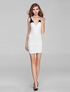 Cocktail Party Dress-Black Sheath/Column V-neck Short/Mini Charmeuse