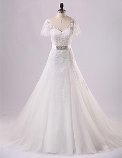 A-line Wedding Dress-Ivory Court Train V-neck Lace / Tulle