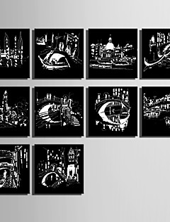 E-HOME® Stretched Canvas Art Black And White Stripes Of The Urban Landscape Series Decoration Painting MINI SIZE One Pcs