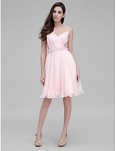 TS Couture® Cocktail Party Dress - Pearl Pink A-line Jewel Knee-length Chiffon