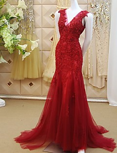 Formal Evening Dress Trumpet / Mermaid V-neck Sweep / Brush Train Lace / Tulle with Appliques / Beading / Sequins
