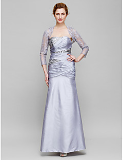 Lanting Sheath/Column Mother of the Bride Dress - Lilac Ankle-length 3/4 Length Sleeve Lace / Taffeta