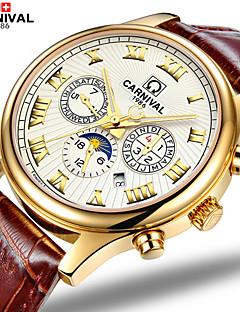 Carnival Heren Modieus horloge Automatisch opwindmechanisme Hol Gegraveerd Leer Band Bruin