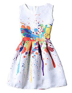 Nais- Vintage Tuppi Mekko,Painettu Reisipituinen Pyöreä kaula-aukko Polyesteri