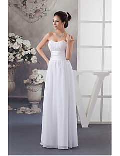 Floor-length Chiffon / Charmeuse Bridesmaid Dress - A-line Sweetheart with Draping