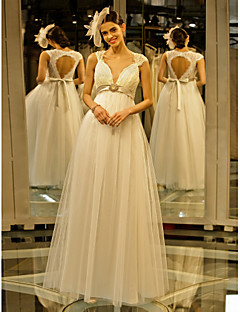 A-line Wedding Dress - Ivory Floor-length Queen Anne Lace / Tulle