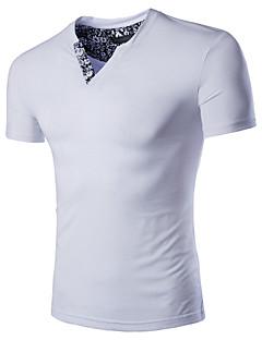Obično Muška Majica s rukavima Ležerne prilike / Plus veličine,Pamuk Kratkih rukava-Crna / Plava / Bijela
