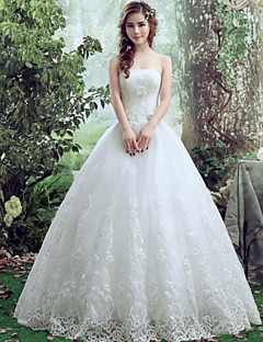 A-line Wedding Dress-Floor-length Bateau Lace / Tulle