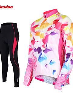 TASDAN 싸이클 타이즈 져지 여성용 긴 소매 자전거 바지 져지 사이클링 스타킹 팔 따뜻하게 탑스 의류 세트 빠른 드라이 통기성 3D 패드 빛반사 스트립 백 포켓 땀 흡수 기능성 소재 나이론 100% 폴리에스터 솔리드 봄 가을 겨울
