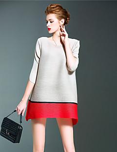 Damen Kleid-Lose Retro Patchwork Mini Polyester Rundhalsausschnitt