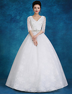 Ball Gown Wedding Dress-White Floor-length V-neck Lace / Satin / Tulle