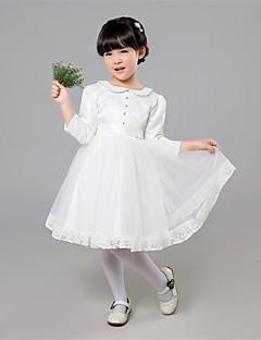 גזרת A באורך  הברך שמלה לנערת הפרחים - סאטן / טול שרוול ארוך עם תכשיטים עם