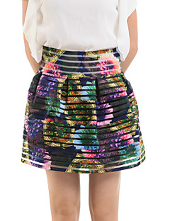 Women's Floral Green Skirts,Cute Above Knee