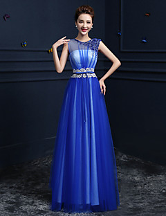 Formal Evening Dress-Pool Ball Gown Jewel Floor-length Satin / Tulle