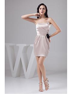 Cocktail Party Dress-Pearl Pink Sheath/Column Strapless Short/Mini Satin