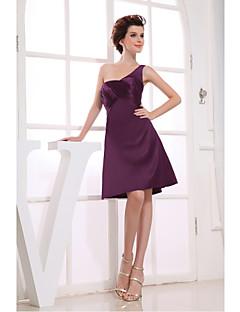 Cocktail Party Dress-Grape A-line One Shoulder Knee-length Satin