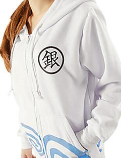 Inspirovaný Gintama Gintoki Sakata Anime Cosplay kostýmy cosplay Mikiny Tisk Biały Dlouhé rukávy Kabát