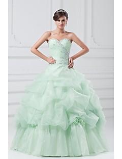 Ball Gown Wedding Dress-Sage Floor-length Strapless Organza