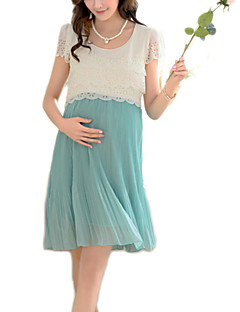 Elegant Hot Sale Round Neck Lace / Pleated Maternity Dress,Cotton / Polyester Above Knee Short Sleeve
