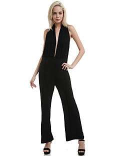 Women's Solid / Lace Black Jumpsuits , Sexy / Party Halter Sleeveless