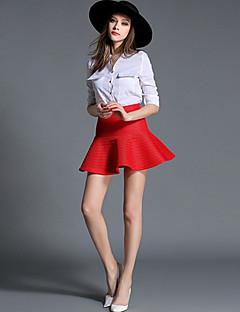 Polyester-Inelastisch-Casual-Boven de knie-Vrouwen-Rokken