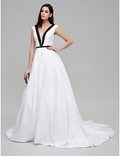 TS Couture® Formal Evening Dress - Multi-color Ball Gown V-neck Chapel Train Taffeta