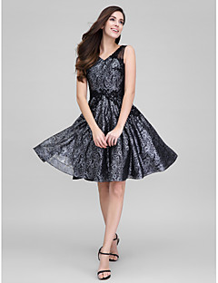TS Couture® Cocktail Party Dress - Black A-line V-neck Knee-length Organza