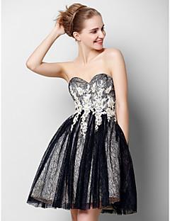 ts couture® prom cocktailparty kjole a-line kæreste knælange tyl med applikationsbroderi / blonder