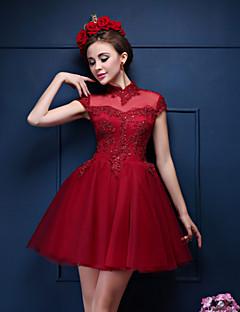 Коктейльная вечеринка Платье-Бордовый С пышной юбкой Вырез под горло Короткое/мини Кружева / Тюль