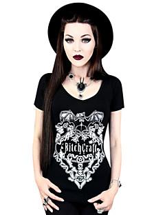 Blusa/Camisa Lolita Clássica e Tradicional Cosplay Vestidos Lolita Preto Estampado Camiseta Para Lycra Terileno