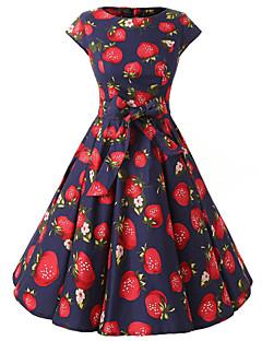 Women's Cap Sleeves Royal Blue Strawberries Print Floral Dress , Vintage Cap Sleeves 50s Rockabilly Swing Dress