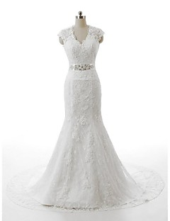 Trumpet/Mermaid Wedding Dress-White Sash Court Train V-neck Lace