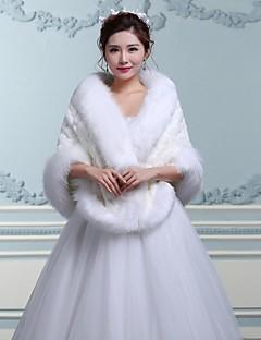 Wraps Wedding / Coprispalle in pelliccia / Mantelle con cappuccio e poncho Mantelline Senza maniche Pelliccia ecologica BiancoMatrimonio