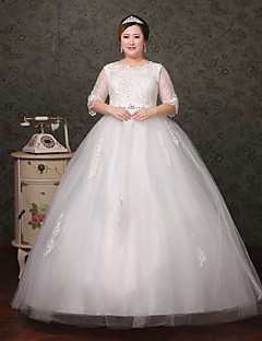 A-line Wedding Dress Floor-length Scoop Lace / Tulle with Crystal / Lace