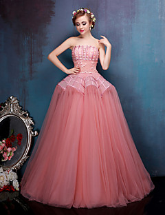 Princess Wedding Dress-Floor-length Strapless Taffeta / Tulle / Stretch Satin