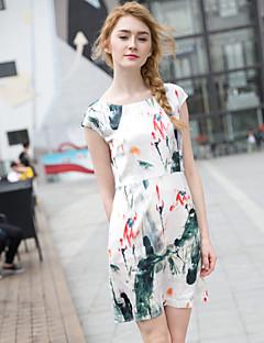Zishangbaili® Damen Rundhalsausschnitt Kurze Ärmel Knielänge Kleid-XZ52104