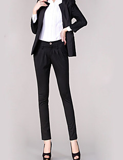 Women's Solid Red / Black / Brown / Green / Yellow Suit Pants,Plus Size / Work