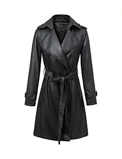 Women's Solid Black Leather Jackets,Street chic Shirt Collar Long Sleeve